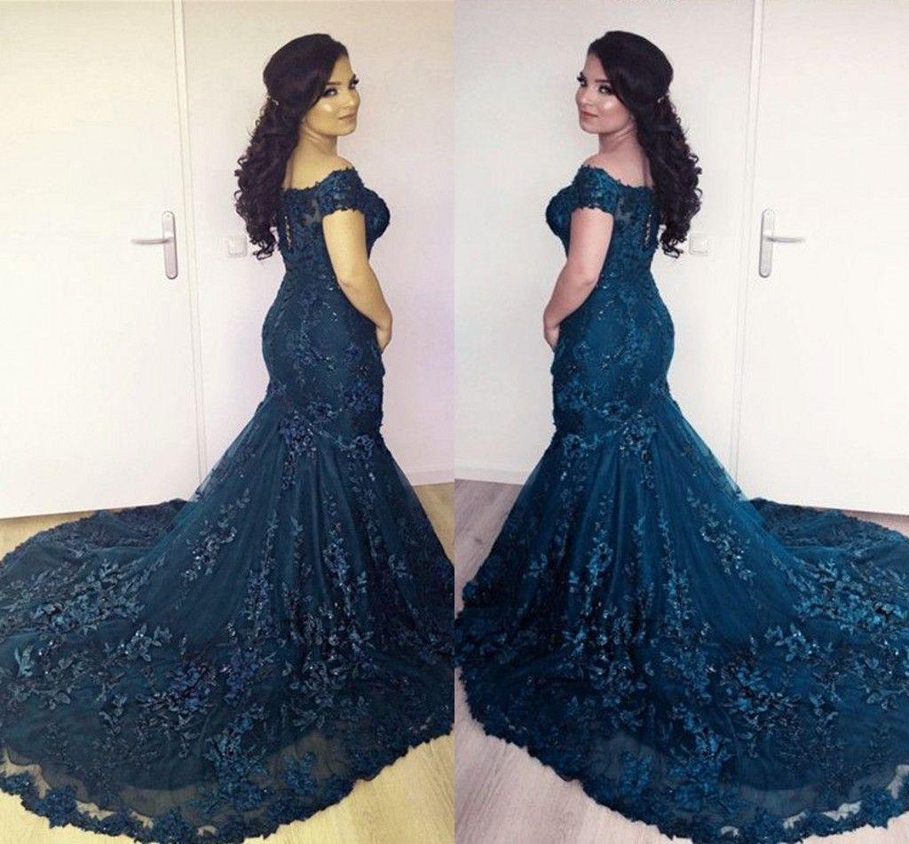 Arabic Navy Blue Mermaid Evening Dresses 2018 Off Shoulder Lace ... 6edd5154073b