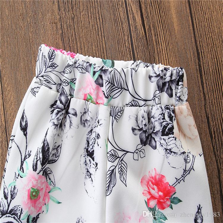 INS Hot Girls Summer Suit Lovely Pink Bowknot Vest+White Flowers Flare Trousers 2-6 years old Girls Summer Clothing Sets LA635