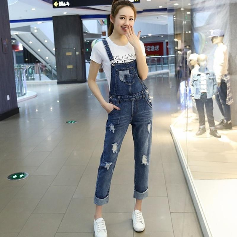 5a86e6dd6887 2019 2018 Summer Women Denim Overalls Solid Jumpsuits Preppy Style Casual  Hole Pocket Sleeveless Straight Jeans Pant F148 From Vikey16