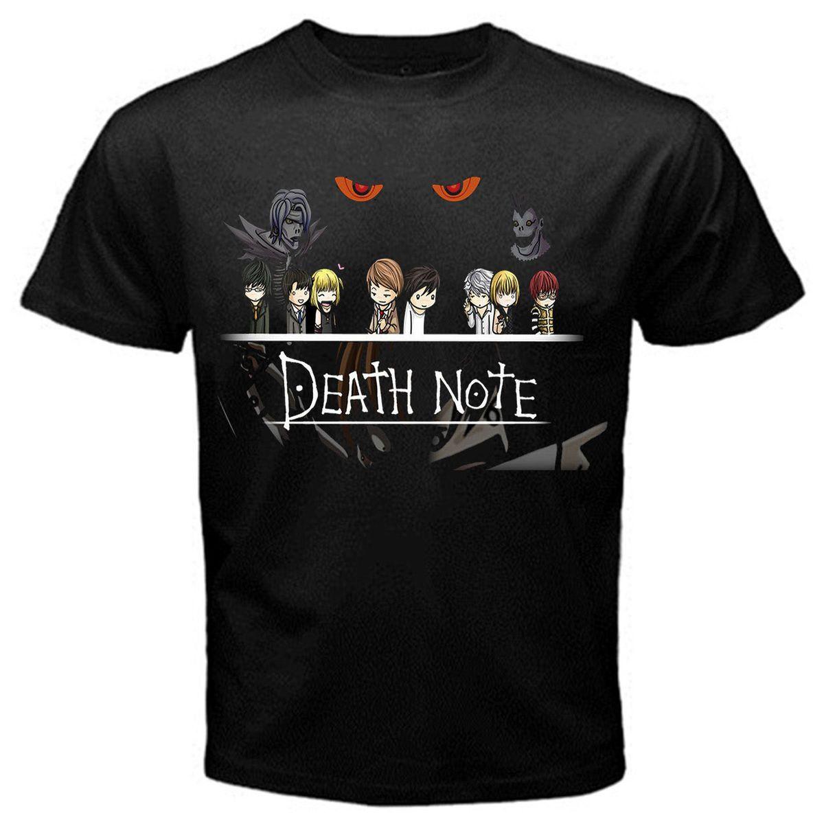 Print Tee Shirt Mens Custom Cotton Short Sleeve Light Yagami Death Note Team Clothes Men T-shirt Tops & Tees