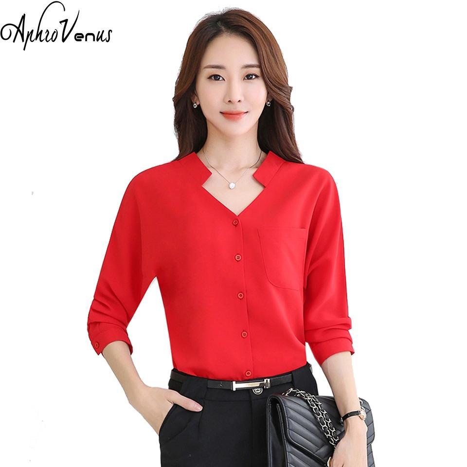 81f3d85f1824a 2019 Blusas Mujer De Moda Women Blouse Long Sleeve Chiffon Blusa Kimono Red  Shirt Casual V Neck Work Wear Office Lady Camisa Feminina From Maluokui