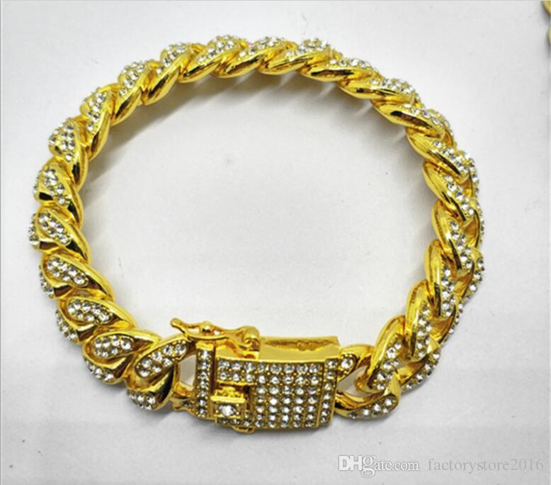 Mens Luxury Iced Out Diamond Fashion Bracelets Bangles High Quality Gold Cuban Link Chain Miami Bracelet Hip Hop Jewelry
