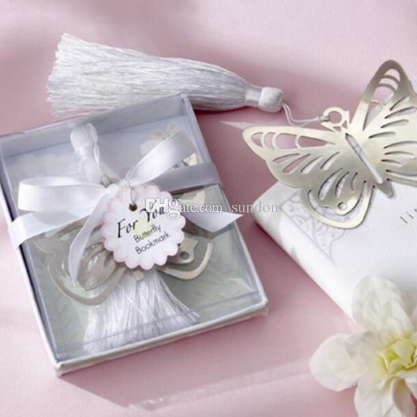metallo argento farfalla segnalibri segnalibri nappe bianche matrimonio baby shower decorazione festa favori regali regali spedizione gratuita