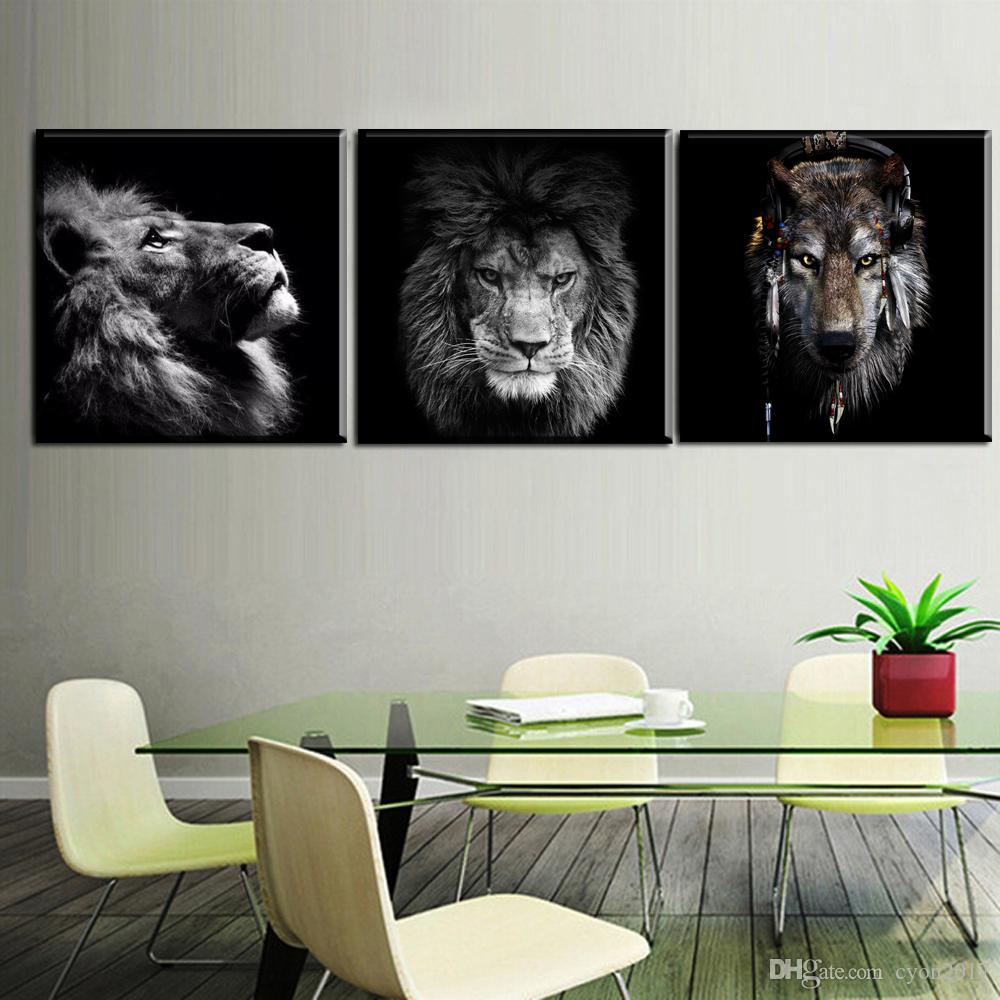 2018 Black White Canvas Painting Modern Wall Decor Art Lion Animal