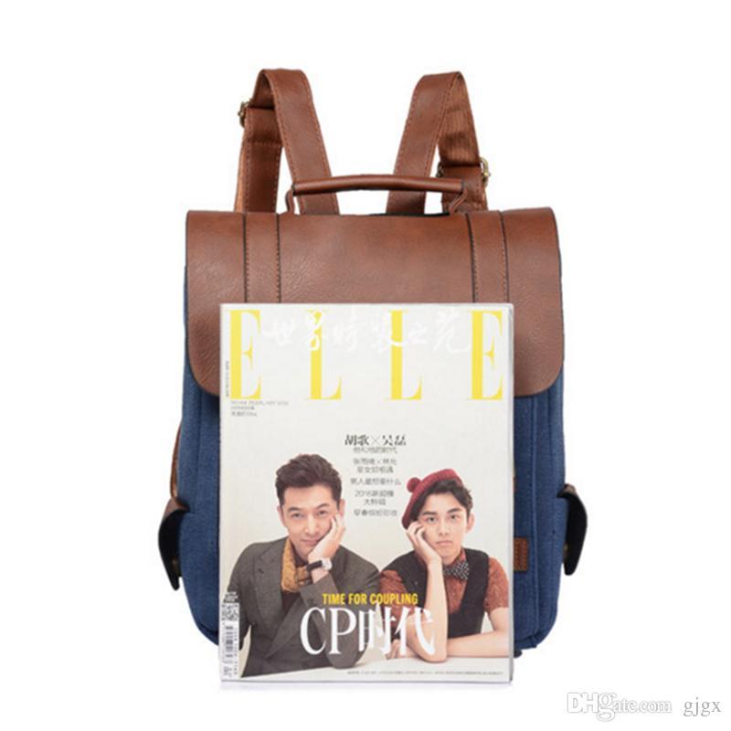 Nova bolsa feminina personalidade homens e mulheres de moda casual bolsa de ombro retro bolsa de lona mochila britânica vento mochila