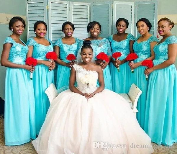 2018 Yeni Afrika Turkuaz Uzun Nedime Elbiseler Dantel Aplike Şifon Kat Uzunluk Sevgiliye Cap Kollu Gelinlikler Gelinlik Giydirme