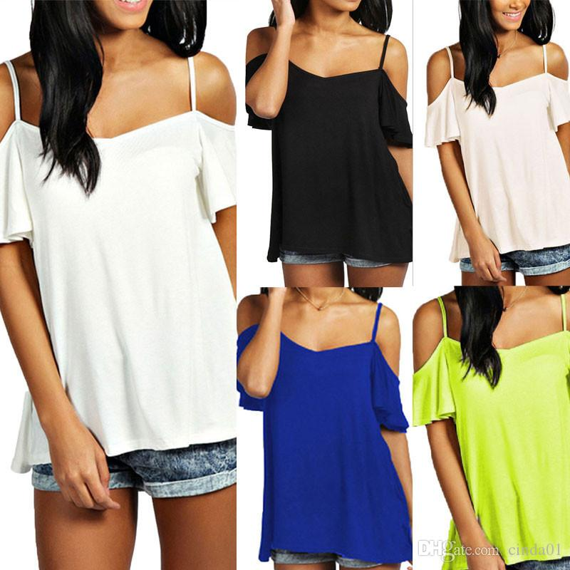 36637a89 Loose Women T Shirt Summer Women Strapless Off Shoulder Short Top Sexy  Ruffle Sleeves Thin Female T Shirt Casual Shirts Funny Tshirts From  Cinda01, ...