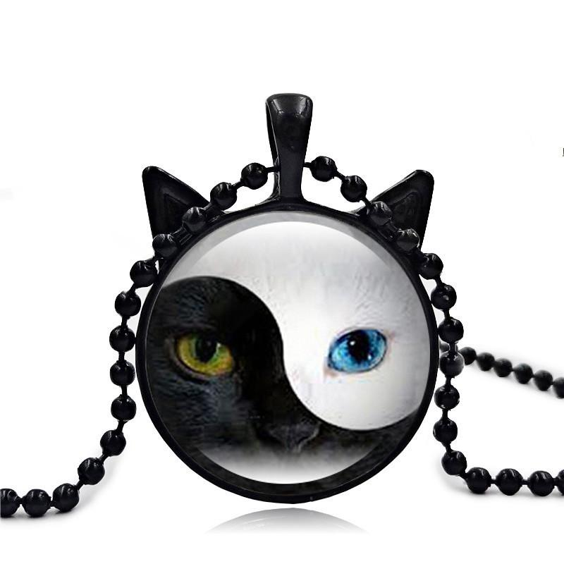 60PCS New YIN YANG Cat Necklace Cat Face Pendant Jewelry Cat Ear Pendant Round Glass Necklace Black Ear Glass Pendant