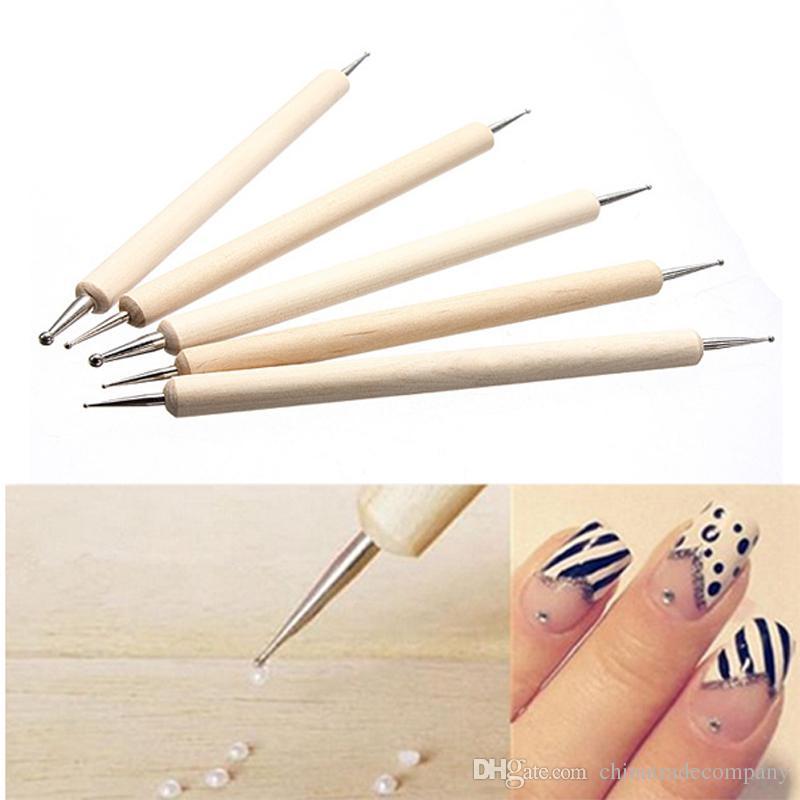2 Way Professional Nail Art Tip Dotting Pen Nail Art Wood Tool Set