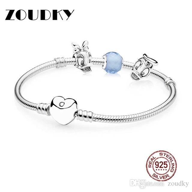 ZOUDKY Book Di 100%925 Sterling Silver Donald and Daisy Bracelet Set fit DIY Original charm Bracelets jewelry A set of prices
