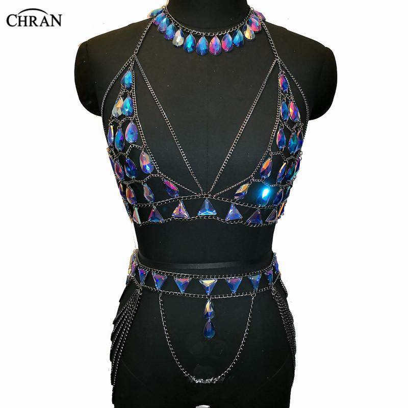 ce1ec29d0b6f0 2019 Chran Blue Iridescent Chainmail Bralette Body Choker Necklace Festival  Bra Crop Top Wear Sexy Skirt Lingerie Set Holiday Jewelry From Chuancai