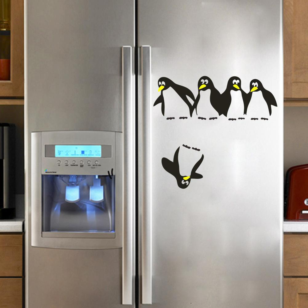 Penguin Refrigerator Sticker Fridge Decals Kitchen Vinyl Wall Stickers Wallpapers For Refrigerator Kitchen Bathroom Decoration Decor Stickers For Walls ... & Penguin Refrigerator Sticker Fridge Decals Kitchen Vinyl Wall ...