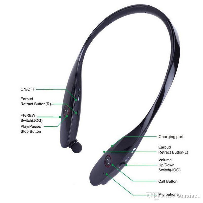 HBS900 Bluetooth Kopfhörer HBS 900 Wireless Sport Neckband Headset einziehbarer Bluetooth Stereo Kopfhörer für Iphone X 8 mit Kleinpaket
