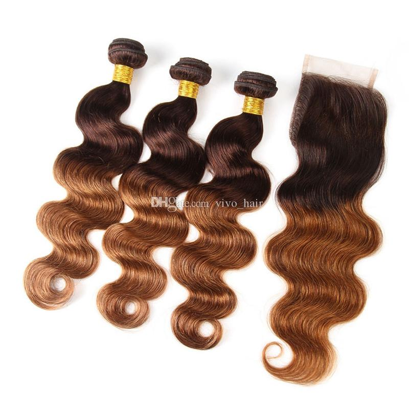 Medium Brown Roots Blonde Ombre Hair Weave 3 Bundles with Lace Closure #4/27 Honey Blonde Body Wave Ombre Hair with Closure