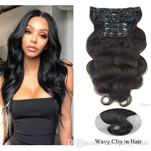 Human Hair Clip In Extensions For Women  1 Pure Black Body Wave Short Remy Full  Head Wavy Clip In Human Hair Extensions Black Hair Extension Clips Hair ... 826cab0d6d