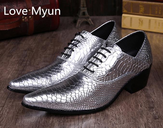 Compre Oro Plata Punta Estrecha Con Cordones Zapatos De Los Hombres Zapatos  De Tacón Alto Oxfords Cuero Genuino Para Hombre Zapatos De Carrera Del  Partido ... 7b1f9bf4aab
