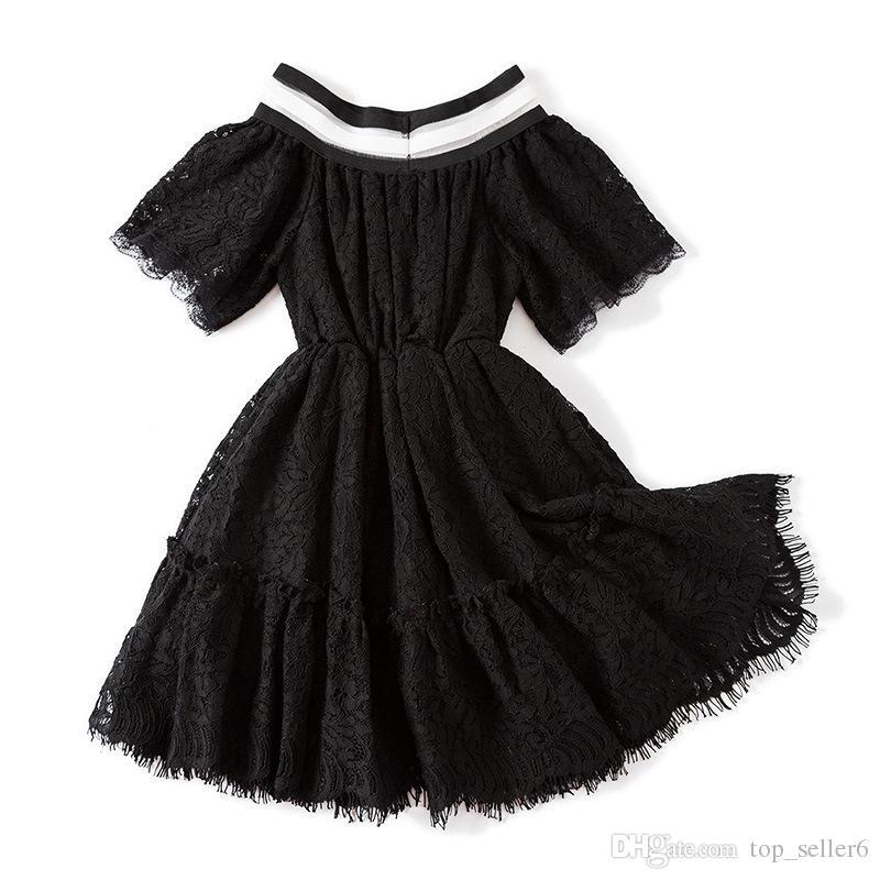 d3924e42c2772 Acheter Filles Robes INS Été Bébé Vêtements Mode Classique Noir Manches  Courtes Dentelle Élégante Princesse Robe Partie Enfants Robe Robe De Bal  994 De ...
