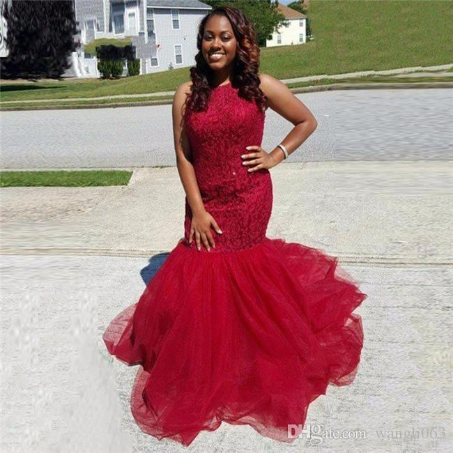 Sexy Mermaid Prom Dresses Red Lace Ruffles Tulle Sleeveless Cheap Evening Party Gown Plus Size African Formal Gowns