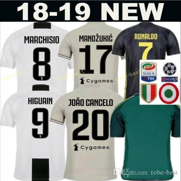 size 40 f32ea f36cd 2018 2019 Soccer FC Juventus Jersey Men Team White 20 CANCELO 5 PJANIC 6  KHEDIRA 11 COSTA 3 CHIELLINI Football Shirt Kits Uniform