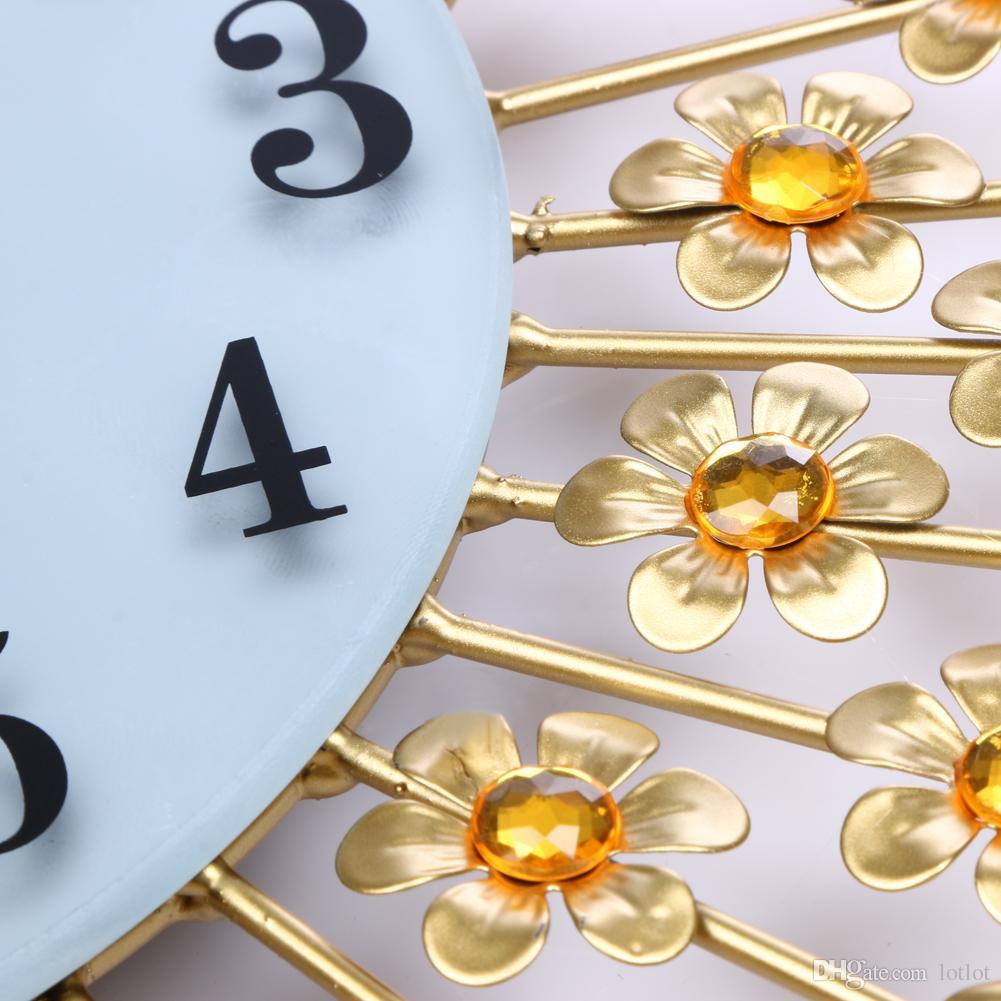 Grande relógio de Parede de Luxo Pavão Diamante de Cristal De Cristal Digital Agulha de Relógios para Sala de estar Decoração de Casa Grande Relógio de Parede