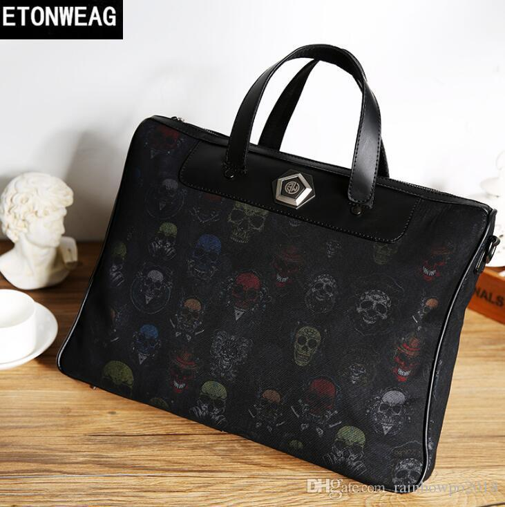 Factory Outlet Brand Men Bag Street Personality Ghost Head Pattern Men  Handbag Fashion Print Leather Business Briefcase Leisure Leather File  Tactical ... d58cec1091a87