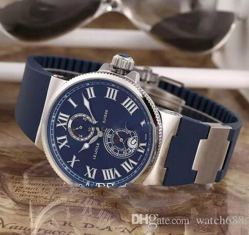 New Ulysse Marine Maxi 263-67-3/43 Steel Case Blue Dial Date Power Reserve Automatic Mens Watch Blue Rubber Strap Sports Watch 8 Colors UN87