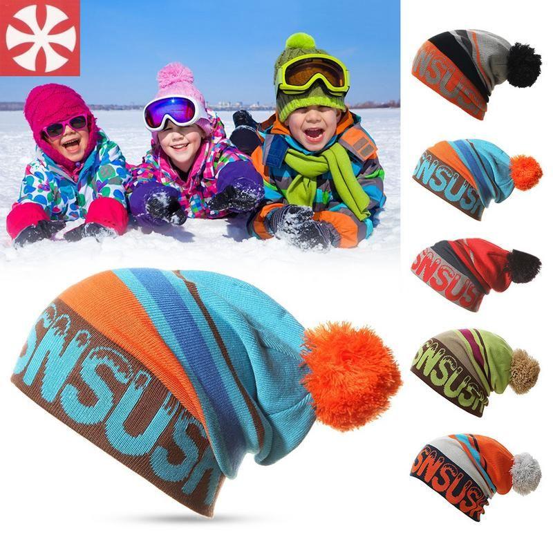 fbac2268270 Unisex Winter Outdoor Keep Warm Parent Child Cap Fashion Striped Print Ski  Hats With Ball Beanies Woolen Knitted Hat Crochet Beanie Pattern Beard  Beanie ...