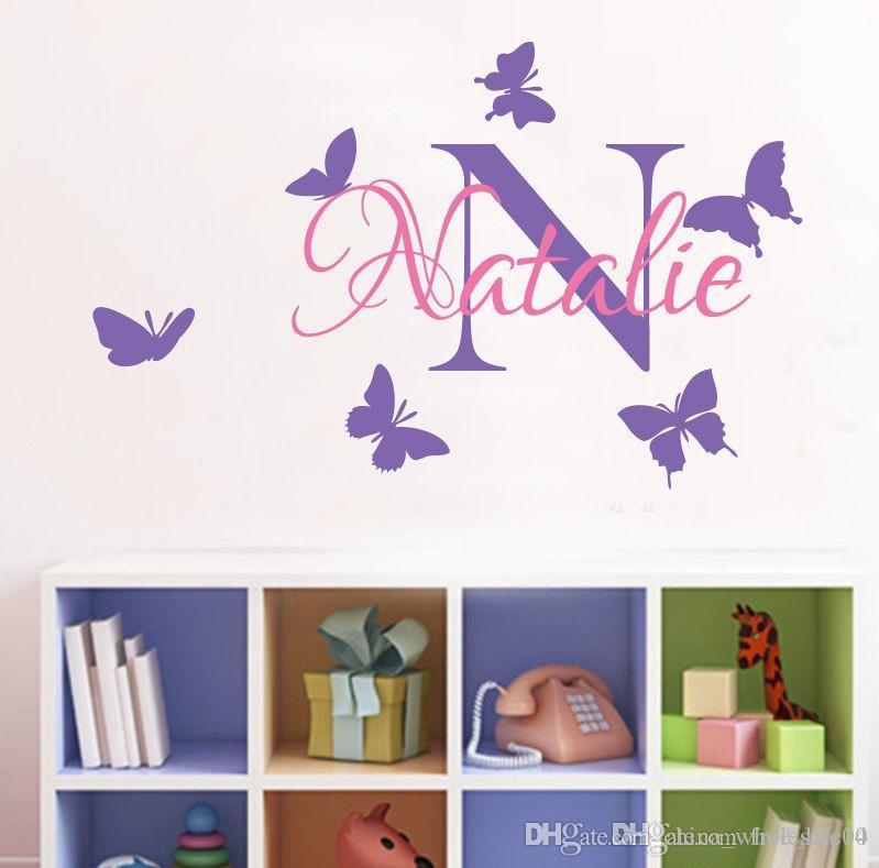 YOYOYU Removable Custom Name Elefant Schmetterling Wandtattoo für Kind Baby  Zimmer Kunstwand Vinyl Wandaufkleber Mädchen Zimmer Deco