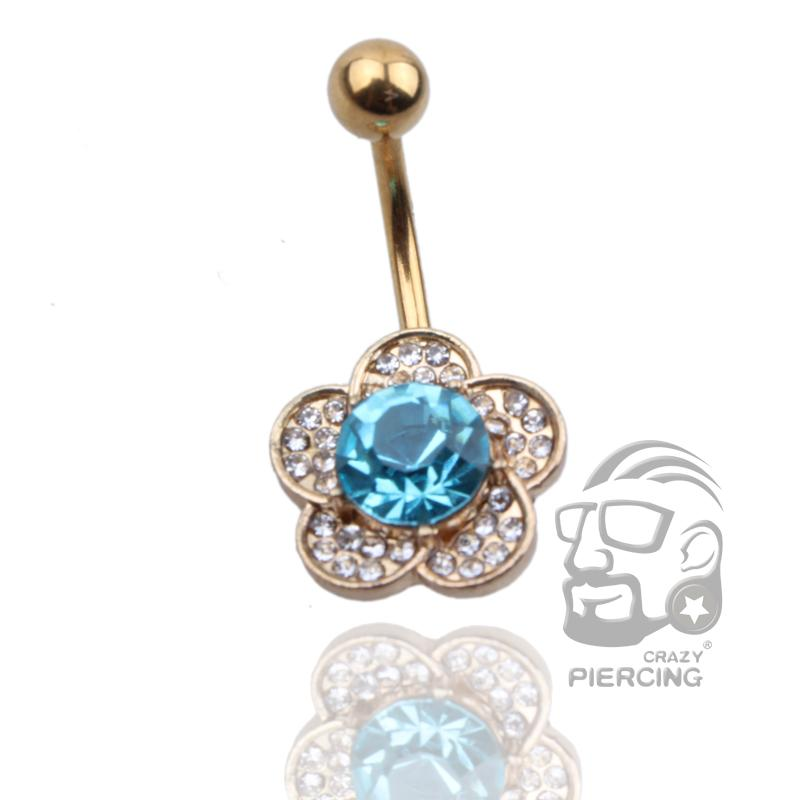 Blue Rhinestone Flowers Piercing Belly Button Ring Ring 316L Steel Gold Navle Ring Body Piercing Jewelry