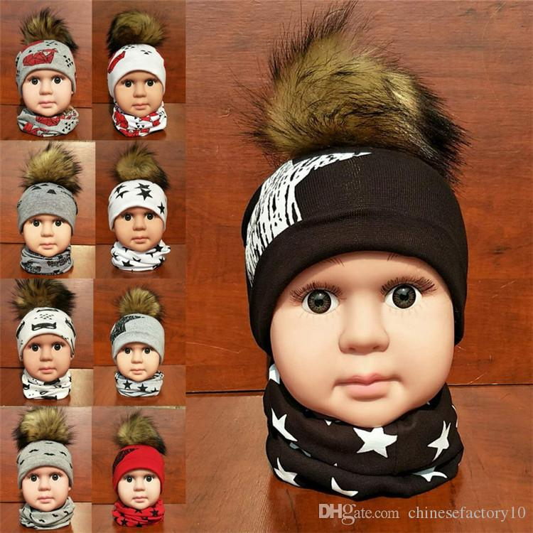 INS Hot Fox Hat Scarf For Little Kids Baby Autumn Winter Star Animal Neckerchief With Hats Windbreak Keep Warm Kids Cap 21 Styles