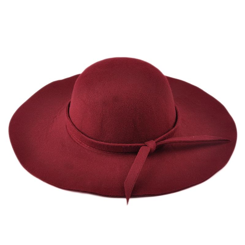 New Fashion Women Lady Sun Shade Hat Cap Wide Brim Wool Felt Bowler Fedora  Hat Floppy Sun Beach Bowknot Cap Hot Selling Sun Hats For Women Trilby Hats  From ... 1bd7b48d6411
