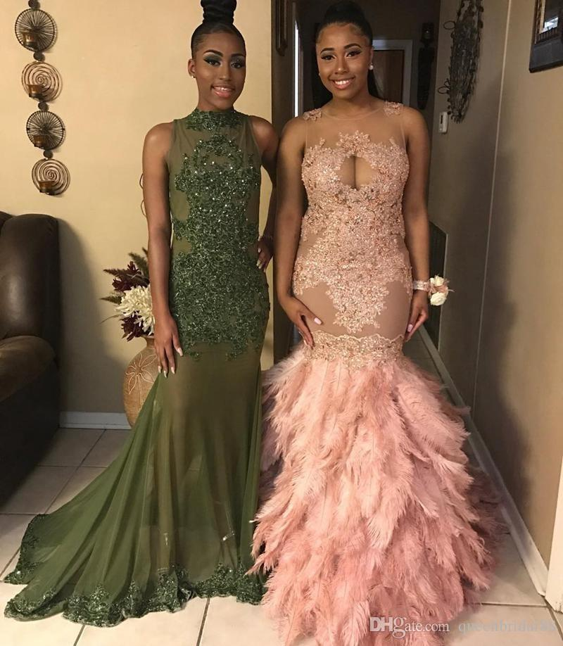 Luxury Feathers Long Floor Mermiad Prom Dresses 2018 Sheer Neck Lace Applique Vestidos De Novia Illusion Back Sexy African Evening Gowns
