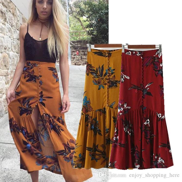 3a0efb43d56 2019 High Waist Boho Print Long Skirts Women Split Maxi Skirt Floral Print  Cardigan Beach Bohemian Dress Female Chic Vintage Summer Holiday Skirt From  ...