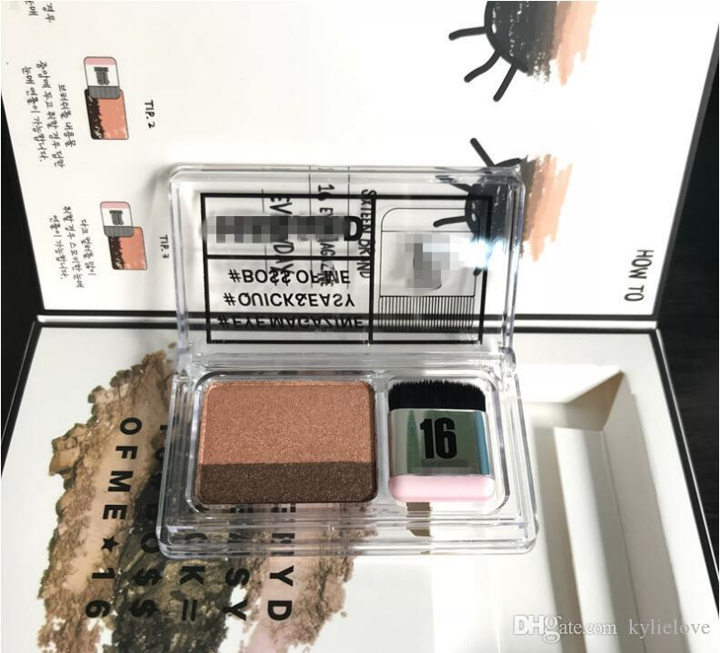 16Brand Cosmetics doppelte Farbe faul schnell einfach Lidschatten Kit Lidschatten-Palette Augenmagazin Make Up mit Pinsel von 16 Marke DROP SHIPPING