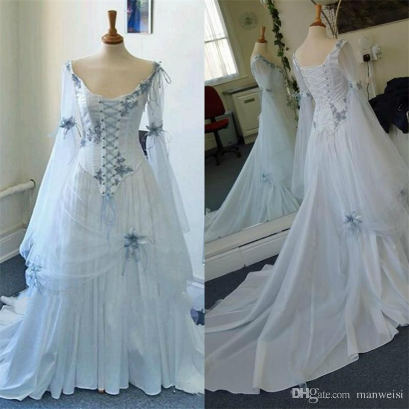 Discount Vintage Celtic Gothic Corset Wedding Dresses Long Sleeve