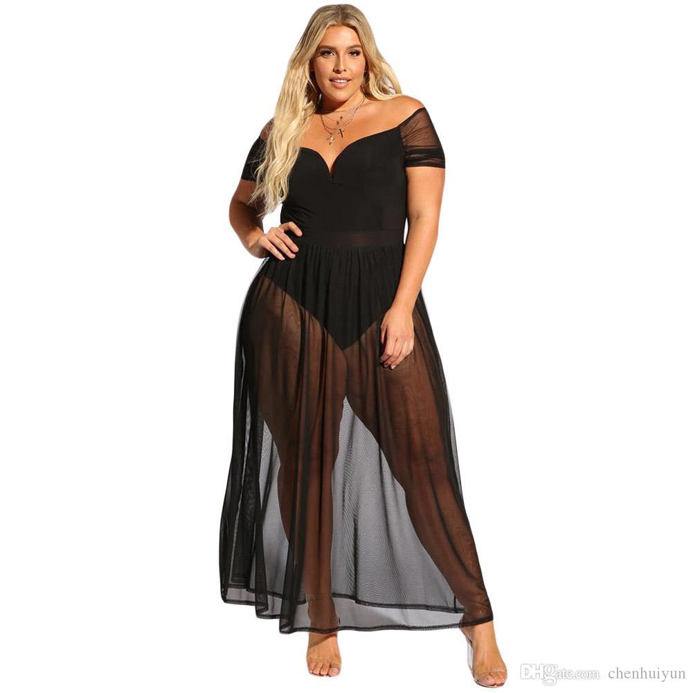 65bf9a987 Compre Fascínio Completo Preto Sexy Quente Mais O Vestido Do Bodysuit Do  Tamanho Para Venda De Chenhuiyun, $22.12 | Pt.Dhgate.Com