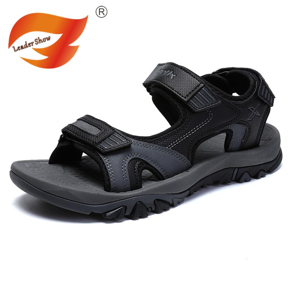 7671563fd22d Leader Show Man Beach Sandals 2018 Summer Gladiator Men s Outdoor Shoes  Roman Men Casual Shoe Flip Flops Large Size 45 Slippers Mens Sandals Reef  Sandals ...