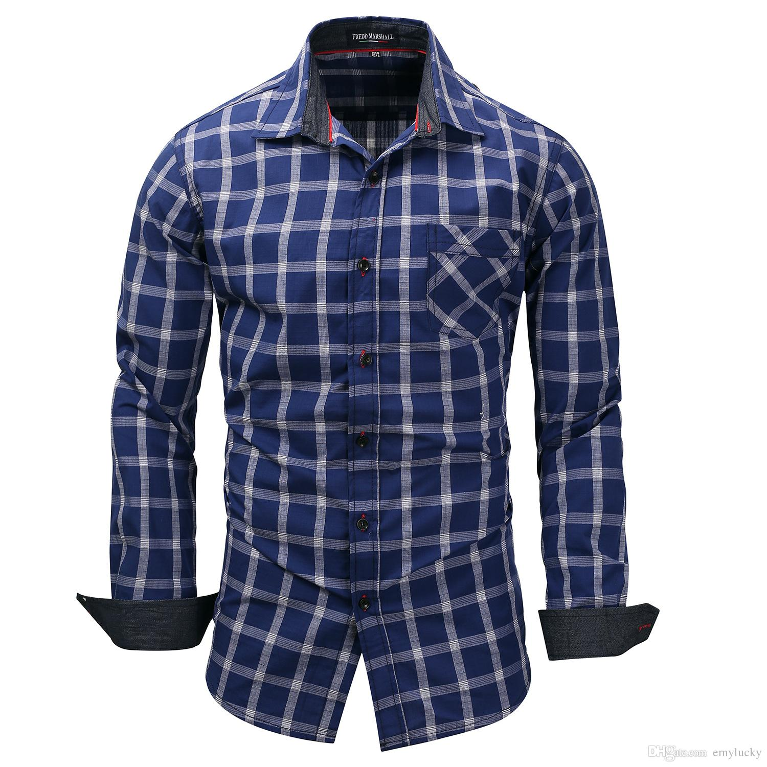 4e2da1a9 2019 Wholesale Men Casual Plaid Pocket Shirts Men'S Polo Solid Luxury  Stylish Long Sleeved Casual Designer Dress Polka Shirt Muscle Fit Shirts  From Emylucky ...
