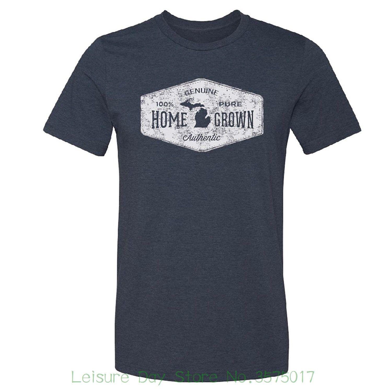 9f59a47df73575 Good Quality Brand Cotton Shirt Summer Style Cool Shirts Livnfresh Men S  Michigan Home Grown T Shirt Tee Designs Neck T Shirts From Leisuredaystore