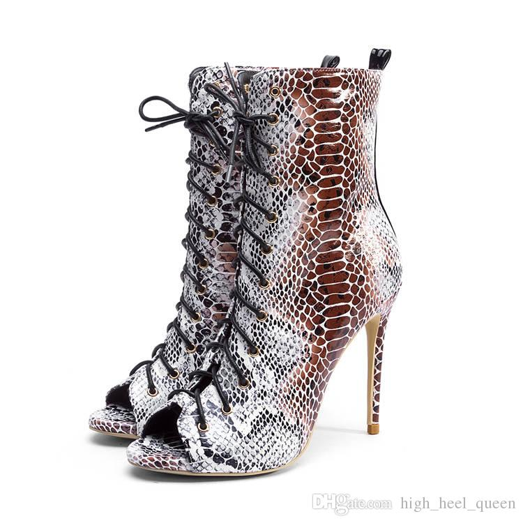 4b8416db9189 Summer Faux Snake Leather Woman Ankle Boots Peep Open Toe Lady 12cm ...