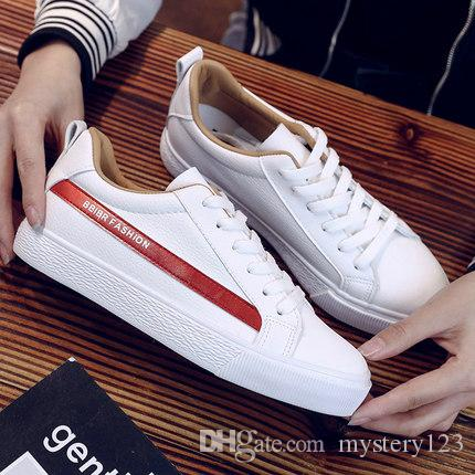 38cfba06042f 2019 New Spring And Summer With White Shoes Women Flat Leather ...