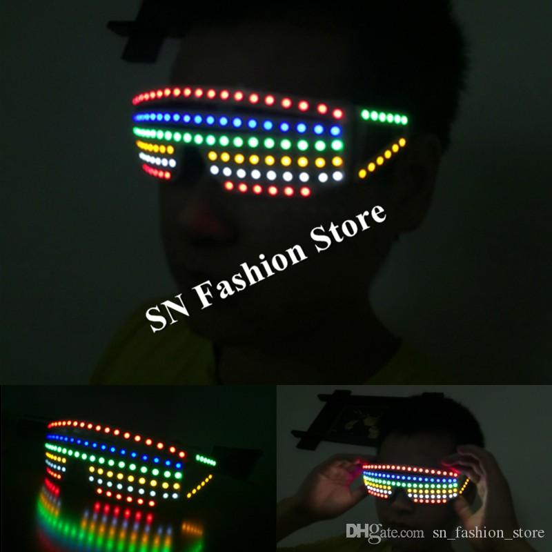 Tful led light glasses ballroom dance stage costumes dj disco dancer wears party cosplay costumes led clothes suit props performance