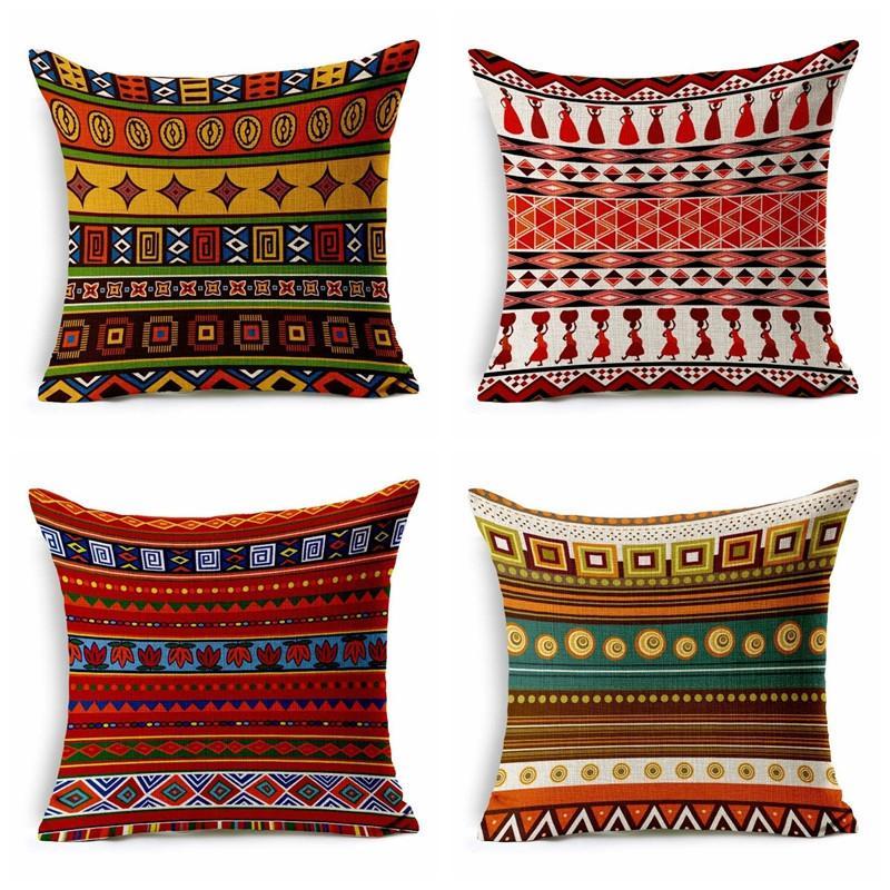8e6beb02f4854f Indiano Exótico Textura Geométrica Étnica Patchwork Impresso Travesseiro  Conjunto de Linho Sudeste Asiático Travesseiro Conjunto Expressivo ...