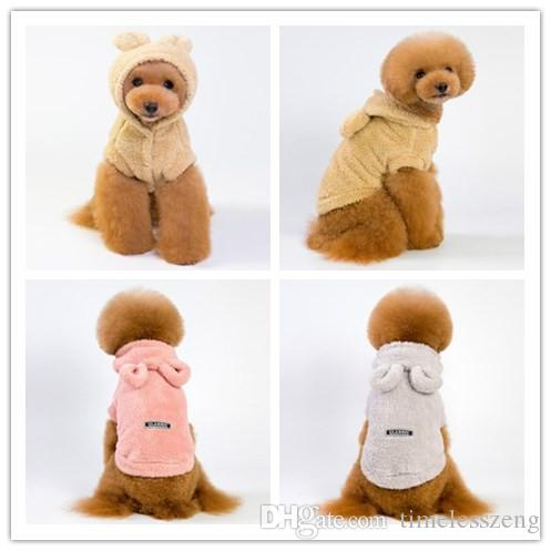 5 Size dog costume cute bear ear pet clothes double-faced pile teddy poodle autumn winter warm dog apparel 3 color
