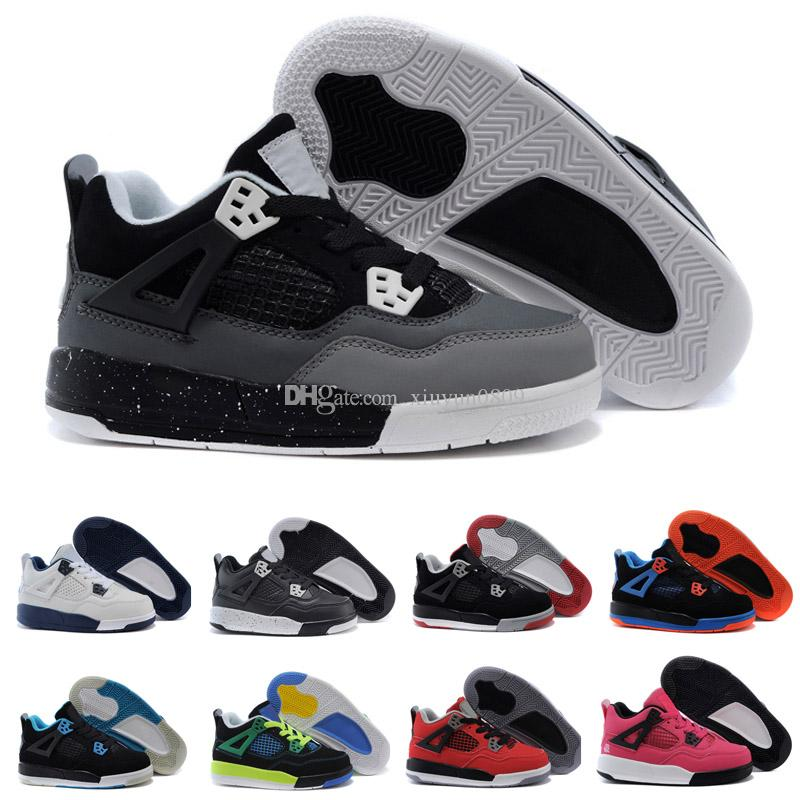 huge selection of 35090 5ec04 Acheter Nike Air Jordan 4 13 Retro 4s Pure Money Royalty Blanc Ciment  Premium Enfants Chaussures De Basket Ball Noir Bred Fire Rouge Enfants  Skateboard ...