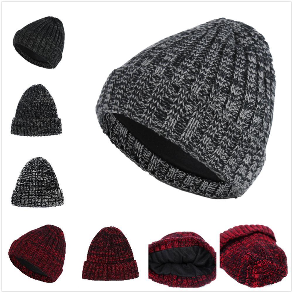 Men Women Baggy Hat Solid Simple Winter Warm Crochet Wool Knit Ski ... 53913f5163a