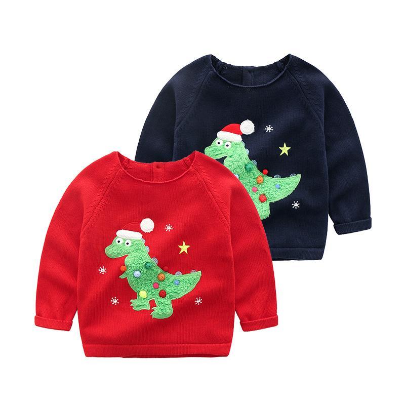 8cb0e32982b9 2018 Autumn Winter Children S Cartoon Dinosaur Knitted Sweaters Kids ...