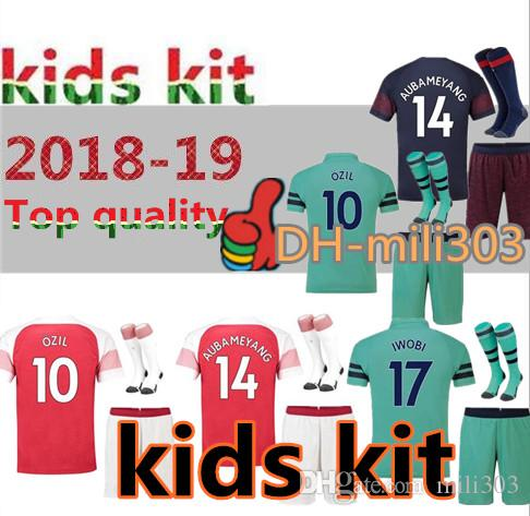 00a79c309f5 2019 Top Quality 18 19 Gunners OZIL Kids Soccer Jersey Kit 2018 2019  LACAZETTE AUBAMEYANG Child Camiseta De Futbol Customize Football Kit  Uniform From ...