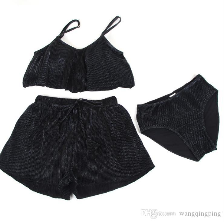 Wholesale - New swimsuit female three-piece suit Hot spring small wind bikini girl swimsuit small chest gather