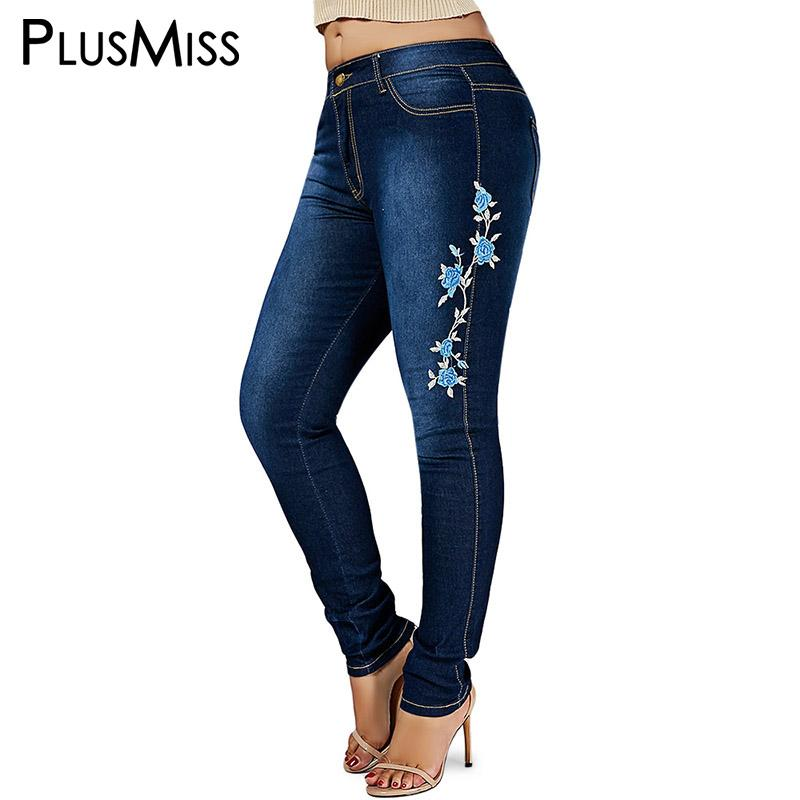 b7e6860fc0a4 Acheter Vente En Gros Plus Size 6XL 5XL Skinny Floral Brodé Jeans Déchirés  Femme Denim Pants Femmes Grand Taille Crayon Jean Femme 2018 Noir De  41.55  Du ...
